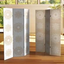 6 ft. Tall Double Sided Mandala on Birch Canvas Room Divider :: Double Sided Shoji Screens