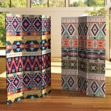 6 ft. Tall Double Sided Ikat Canvas Room Divider :: Double Sided Shoji Screens