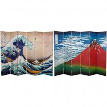 6 ft. Tall Double Sided Hokusai Room Divider - Great Wave/Red Fuji :: Double Sided Shoji Screens