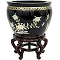 "16"" Black Birds and Flowers Fish Bowl main image"