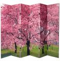 6 ft. Tall Double Sided Cherry Blossoms Canvas Room Divider 6 Panel thumbnail 1