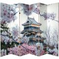 6 ft. Tall Double Sided Cherry Blossoms Canvas Room Divider 6 Panel thumbnail 2