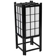 "18"" Window Pane Japanese Lamp (Black Finish)"