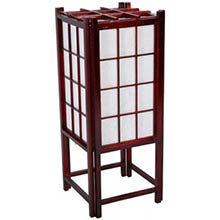 "18"" Window Pane Japanese Lamp (Rosewood Finish)"