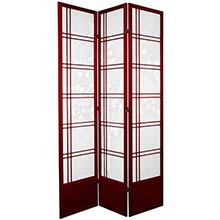 "84"" Bamboo Sunrise Shoji Screen (Rosewood Finish)"