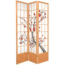 "84"" Japanese Cherry Blossom Screen (Natural Finish)"