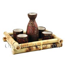 Brown Earth Sake Set