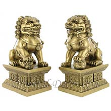 Gold Color Foo Dogs (Large Size)