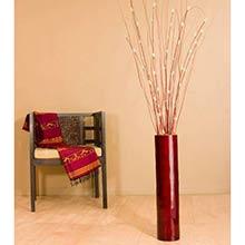 "26"" Mahogany Red Bamboo Cylinder Floor Vase"