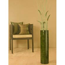 "27"" Green Bamboo Oval Cylinder Floor Vase"