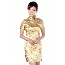 Gold Cherry Blossom Knee-Length Qipao