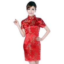 Red Dragon and Phoenix Knee-Length Qipao