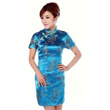 Turquoise Dragon and Phoenix Knee-Length Qipao