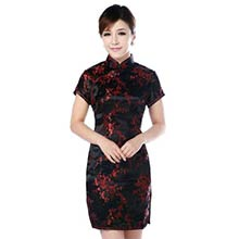 Black and Red Cherry Blossom Knee-Length Qipao