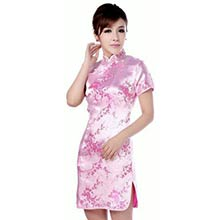 Pink Cherry Blossom Knee-Length Qipao