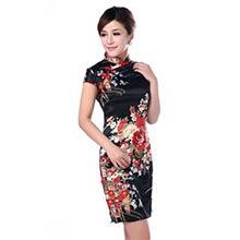 Black Silk Floral Knee-Length Qipao (Sleeveless)