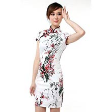 White Sakura Knee-Length Qipao