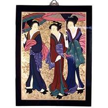 """25"""" Three Geishas Wall Carving"""
