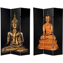 6 ft. Tall Double Sided Black Thai Buddha Room Divider