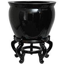 Solid Black Porcelain Fish Bowl