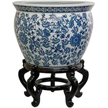 Floral Blue and White Porcelain Fish Bowl