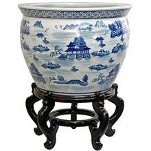 Landscape Blue and White Porcelain Fish Bowl