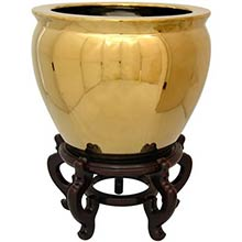 Solid Gold Leaf Porcelain Fish Bowl