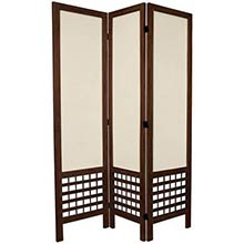 "67"" Tall Burnt Brown Open Lattice Fabric Room Divider"