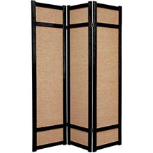 6 ft. Tall Jute Shoji Screen (Black)