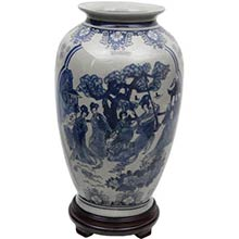 "14"" Ladies Blue and White Porcelain Tung Chi Vase"