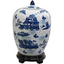 """11"""" Landscape Blue and White Porcelain Vase Jar"""