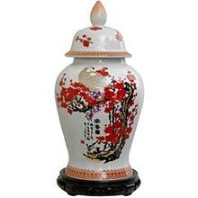 "18"" Cherry Blossom Porcelain Temple Jar"