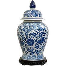"18"" Floral Blue & White Porcelain Temple Jar"