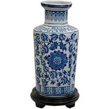 """12"""" Floral Blue and White Porcelain Vase"""