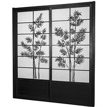 7 ft. Tall Black Bamboo Tree Shoji Sliding Door Kit