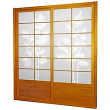 7 ft. Tall Honey Bamboo Tree Shoji Sliding Door Kit