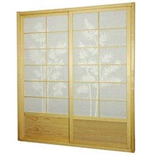 7 ft. Tall Natural Bamboo Tree Shoji Sliding Door Kit