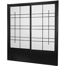 7 ft. Tall Black Eudes Shoji Sliding Door Kit (Double-Sided)