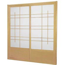 7 ft. Tall Natural Eudes Shoji Sliding Door Kit (Double-Sided)