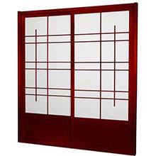 7 ft. Tall Rosewood Eudes Shoji Sliding Door Kit (Double-Sided)