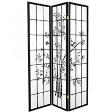 6 ft. Tall Lucky Bamboo Room Divider (Black Finish)