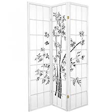 6 ft. Tall Lucky Bamboo Room Divider (White Finish)