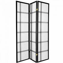6 ft. Tall Double Cross Shoji Screen (Black Finish)