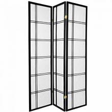 6 ft. Tall Double Cross Shoji Screen (Black Finish)