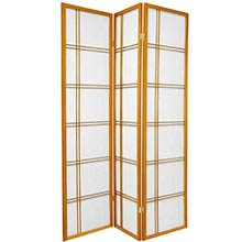 6 ft. Tall Double Cross Shoji Screen (Honey Finish)