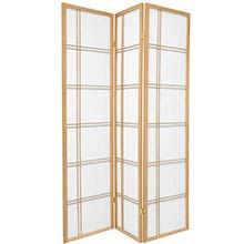 6 ft. Tall Double Cross Shoji Screen (Natural Finish)