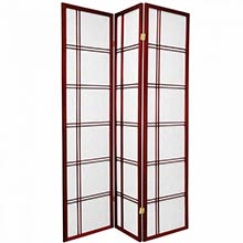 6 ft. Tall Double Cross Shoji Screen (Rosewood Finish)
