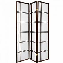 6 ft. Tall Double Cross Shoji Screen (Walnut Finish)