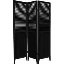 "Black 70"" Tall Wooden Beadboard Screen"