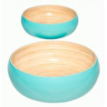 Blue Lacquered Salad Bowl Set of Two